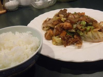 ランチ 豚肉と厚揚げの味噌炒め